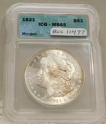 1921 Morgan Dollar, ICG full Gem MS-65, lusterous.
