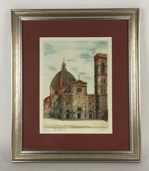 Exquisite Signed Aqua-Forte Dipinta Etching, Florence Cathedral