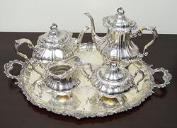 4 Piece Gorham Strasbourg Tea Set with Silver Tray