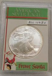2007 Uncirculated Silver Eagle, in custom holder