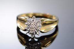 10K Yellow Gold 0.02 Ctw Diamond Cluster Ring