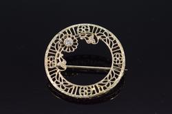 14K Yellow Gold 0.04 Ct Diamond Filigree Circle Pin/Brooch
