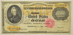 1900 $10,000.00 Gold Certificate Large Size