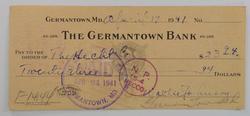 Walter Johnson Signed Check - Rare Signature