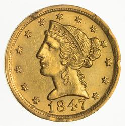 1847-D $5.00 Liberty Head Gold Half Eagle- Not Circulated