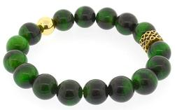 Green Tiger Eye and Gold Bracelet