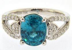 14kt Gold Blue Zircon and Diamond Ring
