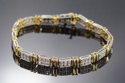 14K Yellow Gold Diamond Encrusted Two Tone Tennis Bracelet