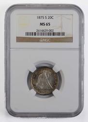 1875-S Seated Liberty Twenty-Cent Piece - NGC MS65