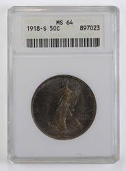 MS64 1918-S Walking Liberty Half Dollar - ANACS Graded