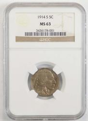 1914-S Buffalo Indian Nickel - NGC MS63