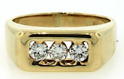 Gent's 14kt Gold & Triple Diamond Wedding Ring