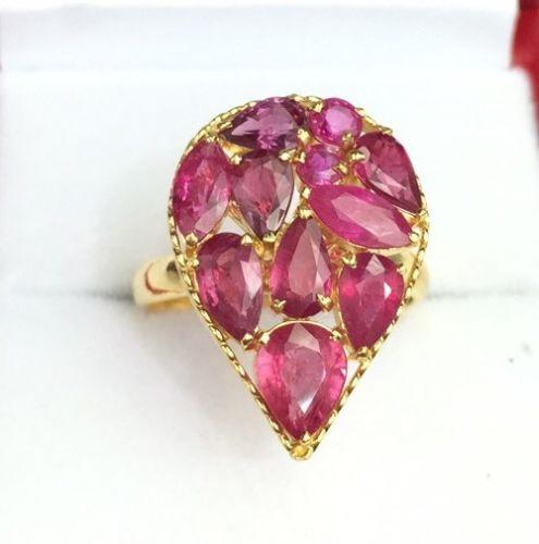 Fancy 14kt Gold Pear Shaped Ruby Cocktail Ring!