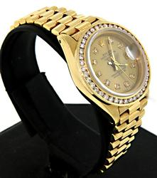 Ladies 18K Rolex Datejust with Diamond Dial and Bezel