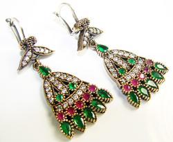 Alluring Antique Design Beautiful Gems 925 SS Earrings