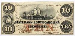 8-2 -1860 Choice AU $10 State Bank of South Carolina