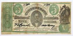 $5 Counterfeit Confederate States note Sept 2 1861