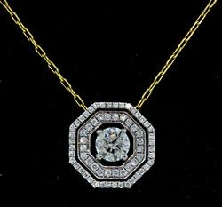1.55 CTW Diamond Octagon Pendant Necklace in 18K