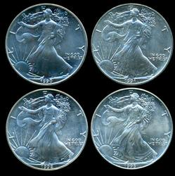 4 Diff Better date Gem BU $1 Silver Eagles 1990 to 1993