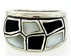 Black Onyx and Opal Sterling Silver Ring