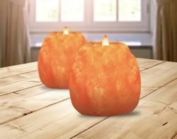 2Pc Hand Carved Natural Himalayan Crystal Candle Holder