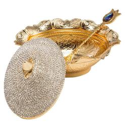 Swarovski Crystal Coated Handmade Brass Serving Bowl
