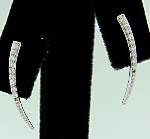 Crescent Shape Ear Climbers with Diamonds
