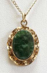 Stunning 'Jade' On Gold Pendant Necklace
