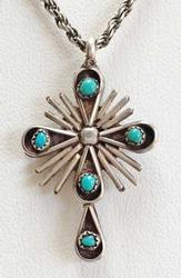 Beautiful 'Sterling', Turquoise & Coral 'Two Sided Cross' Pendant Necklace