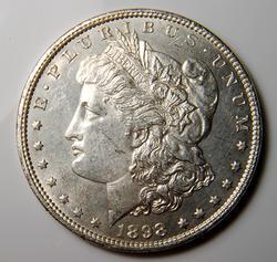 AU/BU Slider Morgan Dollar 1898 Nearly PL