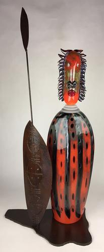 Outstanding Rare French Art Glass & Bronze, a Maasai Warrior, Signed