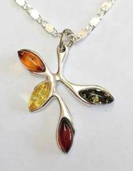 Unique, Sterling, Four (4) Different Shades 'Baltic Amber' Pendant Necklace