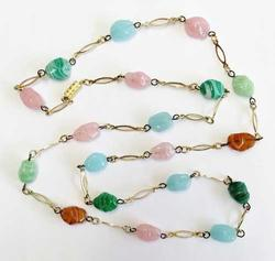 Long, Lovely, Designer, 'Multi Colored Pastel Glass' Beaded Necklace