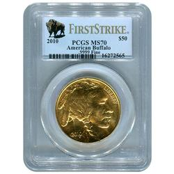 Certified Uncirculated Gold Buffalo 2010 MS70 First Strike PCGS