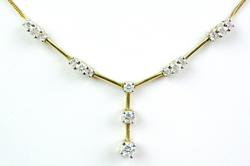 Very Fine Italian 14K Multi-Diamond Y Necklace