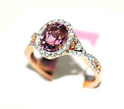 18K Rose Gold Spinel and diamond ring