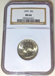1939 MS 66 Washington Quarter in an NGC holder