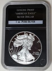 2013 Blazing Proof Silver Eagle in black plastic holder