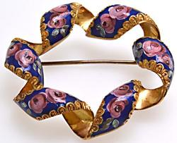 Rare Antique Enamel Wreath Pin, 18KT