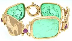 Designer Tagliamonte Venetian Glass Intaglio Gold Bracelet