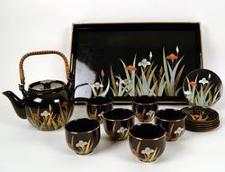 Vintage Japanese Sake Set for 6 With Floral Design