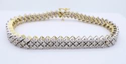 Stunning 3.80CT Diamond Bracelet Two-Tone Gold