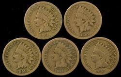 5 Scarce 1861 Indian Head Cents. Good to VG