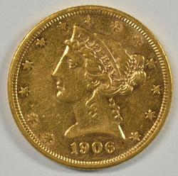 Better 1906-S US $5 Liberty Gold Piece in near mint