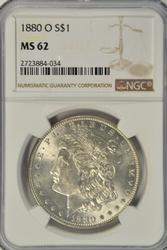 Choice BU 1880-O Morgan Silver Dollar. NGC MS62