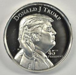 Cameo Prooflike Donald Trump Pure Silver 2 oz Medallion