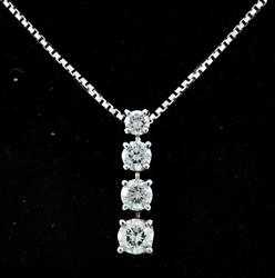 4 Diamond Pendant Necklace at 1.30 CTW