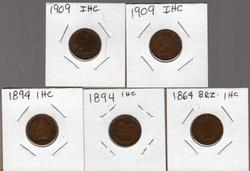 5 Assorted Indian Head Cents (1864-1909)