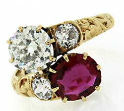 Antique Ruby and Diamond Bypass Ring