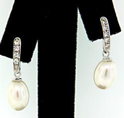 Pearl & CZ Dangle Earrings